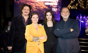 Jack Monroe, second left, winner of Best Food Personality with Jay Rayner, Nigella Lawson and Observer Food Monthly editor Allan Jenkins