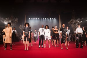 Virgil Abloh takes a bow with Naomi Campbell after his Off/White show at Paris fashion week in September 2017