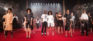Virgil Abloh and models at Paris Fashion Week 2018.