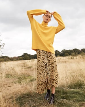 Animal magicGet a head of the game with Whistles' new drop. Add a pop of sunflower yellow and animal print to your wardrobe for spring. Jumper £119, skirt £119, and boots, £156, whistles.com
