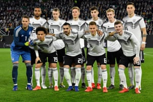 Germany's new generation line up before the Serbia match.