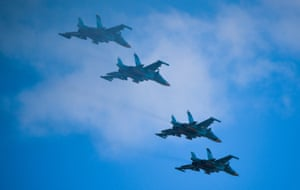 Aircraft fly in formation