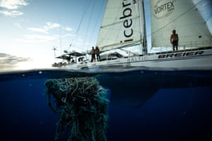 A discarded, tangled net in the Pacific ocean.