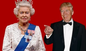 A composite image of the Queen and Donald Trump