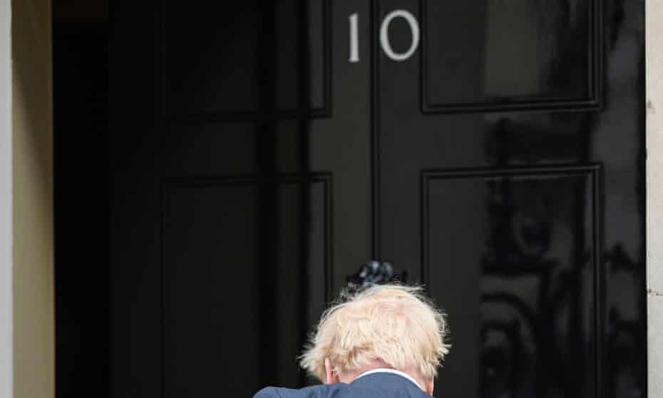 Boris Johnson arrives at No 10 Downing Street on the day of the reshuffle.