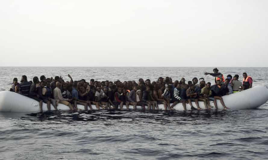An overcrowded boat off the coast of Libya.