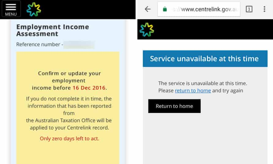 Two screenshots showing errors with Centrelink's online service that have prevented welfare recipients from disputing debts. Australia. December 2016.