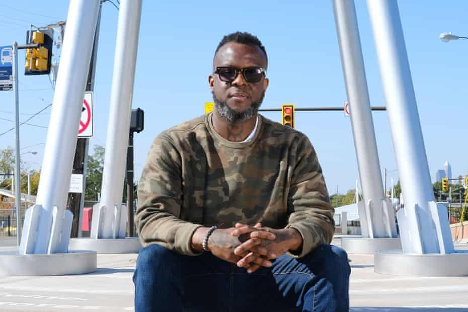 Damien Ware, a poet, in the Buckeye neighborhood in Cleveland, Ohio.