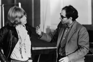 Jean-Luc Godard (right) directs Brian Jones of the Rolling Stones in Sympathy For The Devil