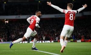 Arsenal's Alexandre Lacazette celebrates scoring the equaliser.