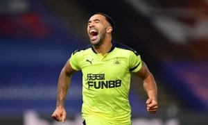 Newcastle United's Callum Wilson celebrates after scoring late at Selhurst Park.
