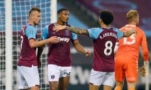 West Ham's goalscorers Sébastien Haller (centre) of and Felipe Anderson (right) are congratualted by Andriy Yarmolenko, who has also failed to live up to his price tag so far.