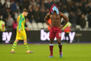 Michail Antonio of West Ham United after their defeat to West Bromwich Albion. Slaven Bilic, formerly the Hammers boss, watched his new side win courtesy of Conor Townsend's ninth minute strike.