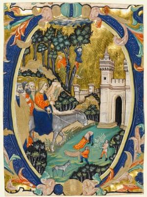 Historiated initial from a Gradual, Entry into Jerusalem (c. 1410-1420) Cristoforo Cortese (Italian, op. 1360-1371) Venice, Italy