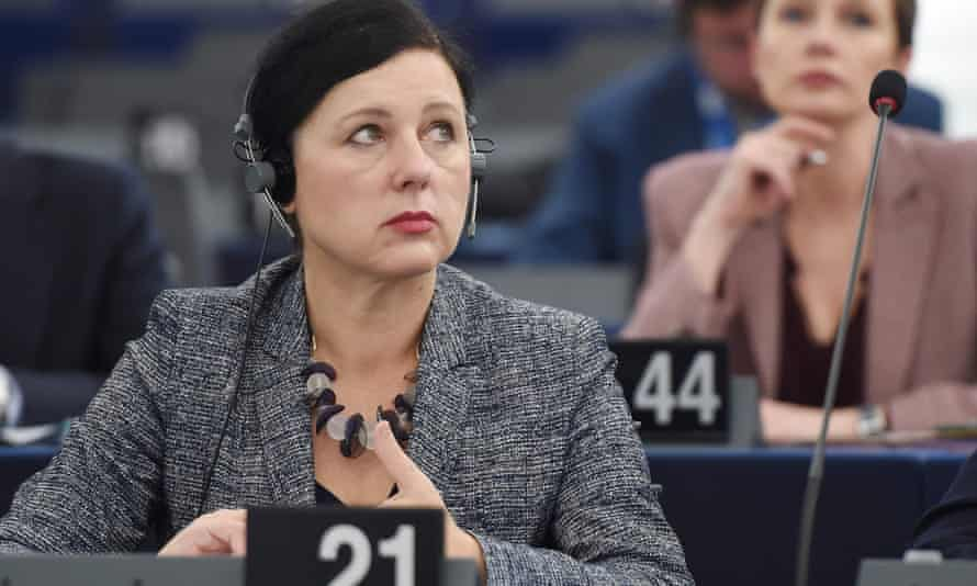 EU Commissioner in charge of Justice, Consumers and Gender Equality, Vera Jourova takes part in a debate on measures to be taken after the Facebook-Cambridge Analytica data breach at the European Parliament.