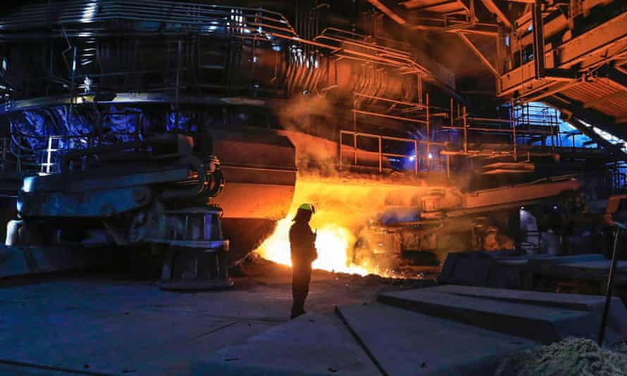 Molten steel pouring from one of Scunthorpe's furnaces during 'tapping'.