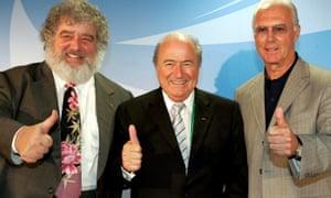 Chuck Blazer, left, with Sepp Blatter, centre, and Franz Beckenbauer in 2005.