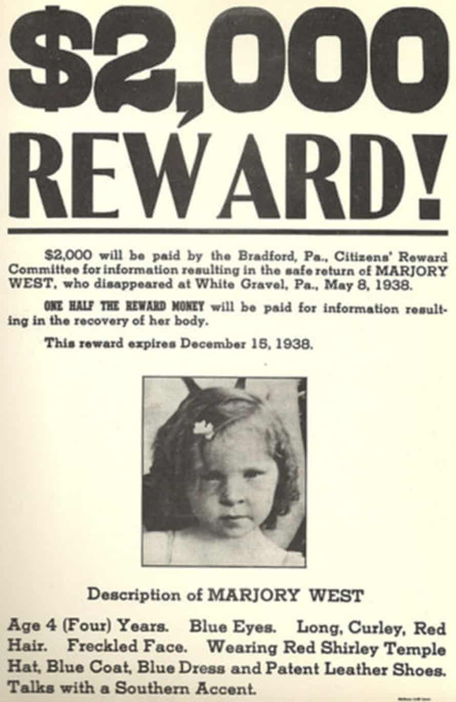 Reward poster for any information on the disappearance of West.