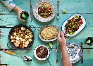 Vegan Mole, Cauliflower, leeks and tempeh & Fried courgettes and beans feast