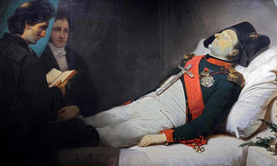 An 1843 painting by French artist Jean-Baptiste Mauzaisse depicts Napoleon Bonaparte on his death bed.
