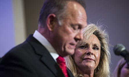 Roy Moore with his wife Kayla on Thursday.