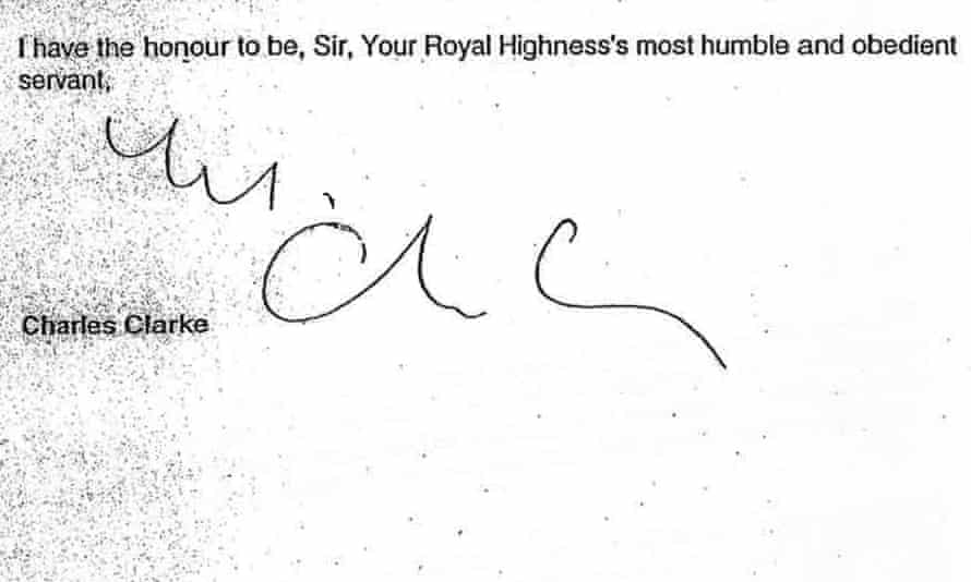 Charles Clarke Signoff - Prince Charles Letters