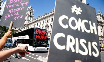 Coach companies protest near Parliament Square at the lack of government help for their industry during the coronavirus pandemic.