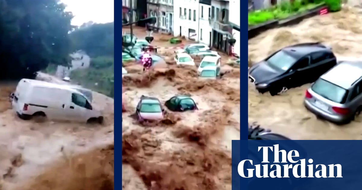 Cars swept away as Belgian town hit by worst floods in decades – video