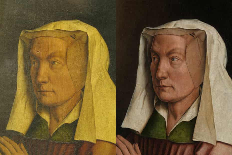 Detail of the Ghent Altarpiece before (left) and after restoration.