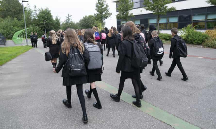 Pupils back at school after the summer break.