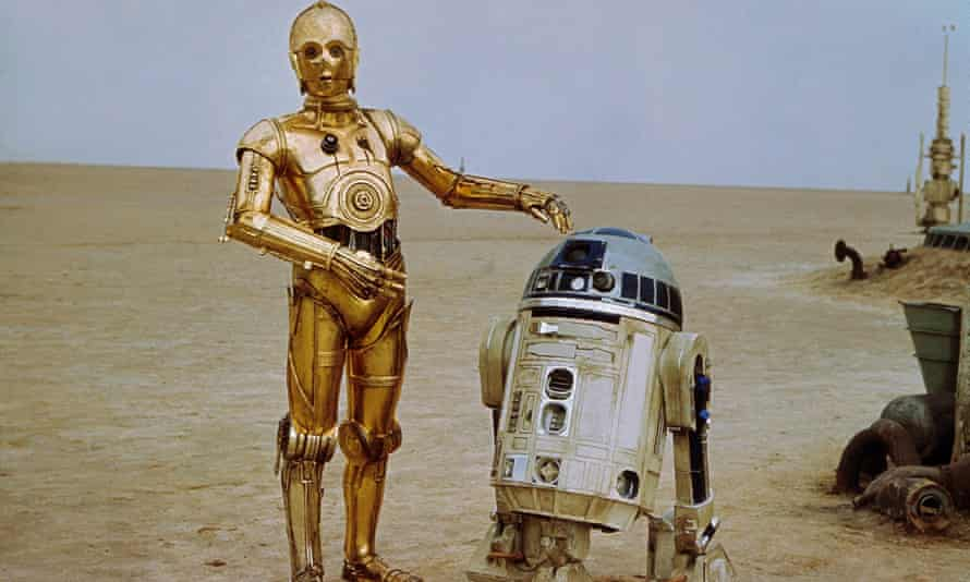 R2-D and C-3PO in the first Star Wars film.