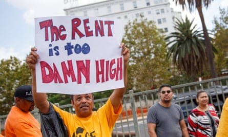 Renters protest high living costs in Los Angeles.