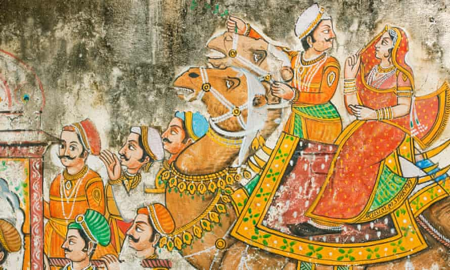 A wedding mural on a wall in Udaipur