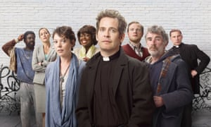 The cast of Rev, with McBurney on the right.