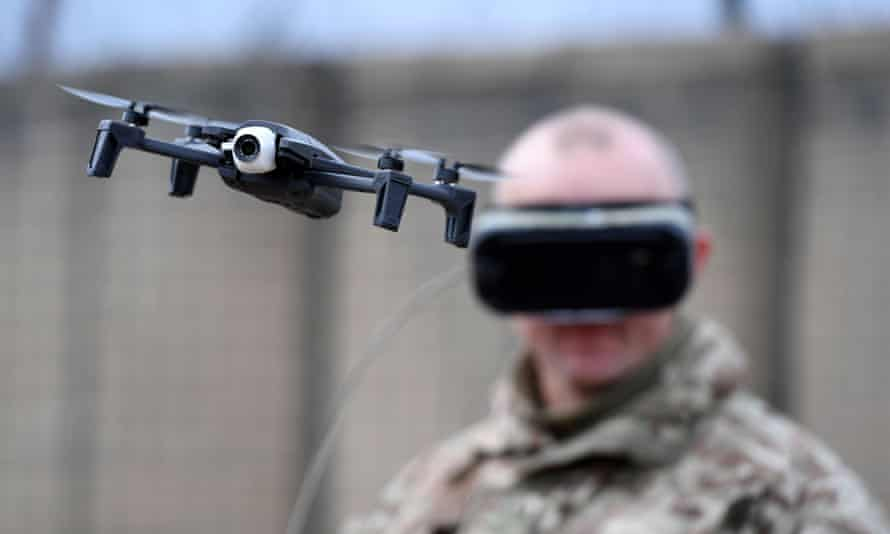 A British army soldier on Salisbury Plain flies a Parrot Anafi drone to demonstrate the latest military technology.