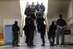 Suspected members of an international criminal organisation smuggling undocumented migrants after being arrested in Crete, Greece.