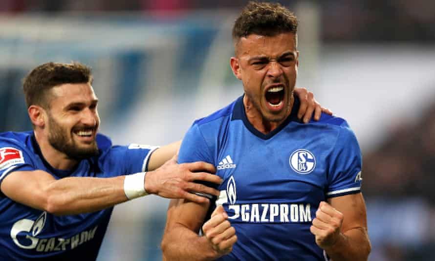 Franco di Santo celebrates after his penalty ended a long goalscoring drought and put Schalke ahead.