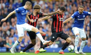 Everton play Huddersfield Town in the Premier League on 1 September 2018. Both clubs' shirts feature the name of an online betting company
