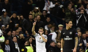 Real Madrid's defender Nacho Fernandez celebrates after opening the scoring.