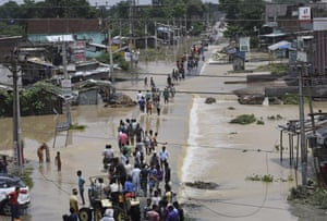Flood affected villagers have to move to find safer places in Araria district, Bihar, India
