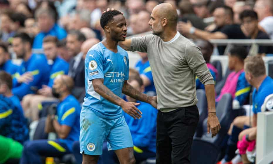 Raheem Sterling subbed by Pep Guardiola