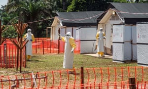 Health workers operate within an Ebola safety zone near Mbandaka, the north-western city where the Democratic Republic of the Congo's previous Ebola outbreak occurred