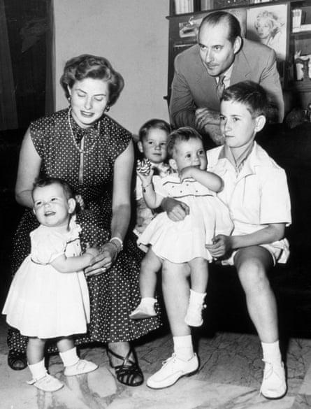 Ingrid Bergman and Roberto Rossellini with their children Ingrid, Roberto Jr, Isabella and Renzo in 1953.