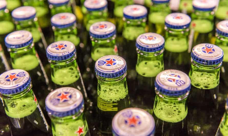 A group of beer bottles