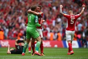 Charlton celebrate victory.