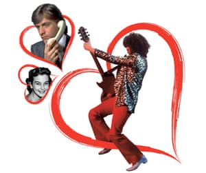 Composite of Audrey Dalton, Richard Madeley and Marc Bolan in a red heart, for a piece about teenage crushes