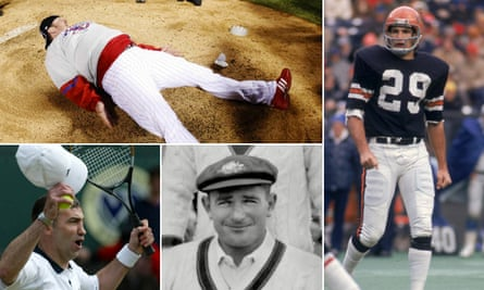 Clockwise from top left: Brett Myers in 2008, Lyle Blackwood playing for the Cincinnati Bengals in 1974, Sid Barnes in 1947 and Karl Power at Wimbledon in 2002.