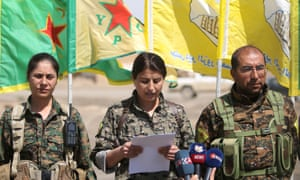Jihan Sheikh Ahmed of the Syrian Democratic Forces gives a press conference