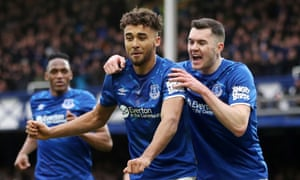 Dominic Calvert-Lewin celebrates scoring Everton's third goal against Crystal Palace with Michael Keane and Yerry Mina