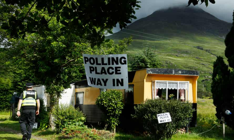 A caravan polling station at Lochbuie on the Isle of Mull in the Inner Hebrides, Scotland.